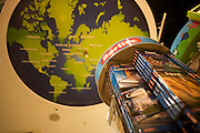 WH Smiths Berlitz travel literature on sale in departures shopping area of Heathrow airport's Terminal 5.