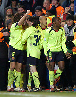 Photo: Richard Lane.<br />Chelsea v Barcelona. UEFA Champions League. 22/02/2006.<br />Barcelona's Samuel Eto'o celebrates their second goal which proves to be the winner.