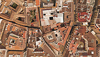Aerial view of beatiful ancient city with wonderful roofs, Malaga, Spain