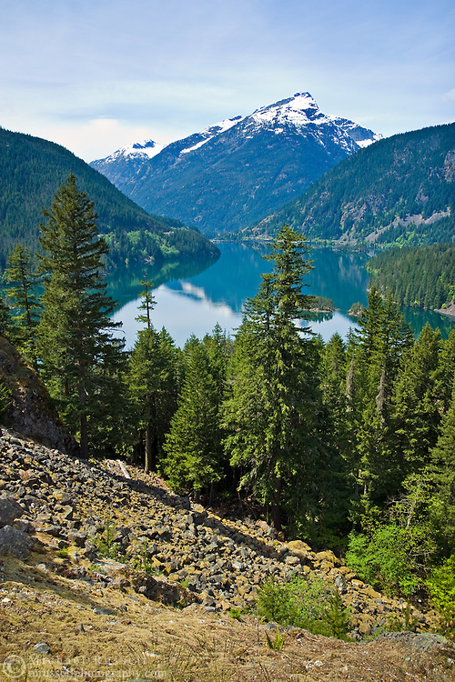 View of Diablo Lake and Davis Peak in North Cascades National Park, Washington State, USA.  Photographed from the Diablo Lake Overlook.