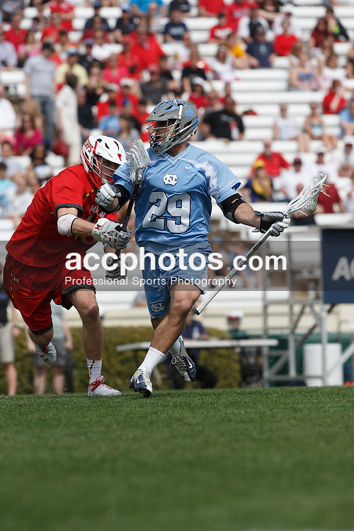 CHAPEL HILL, NC - MARCH 22: Steve Pontrello #29 of the North Carolina Tar Heels during a game against the Maryland Terrapins on March 22, 2014 at Kenan Stadium in Chapel Hill, North Carolina. North Carolina won 11-8. (Photo by Peyton Williams/Inside Lacrosse)