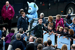 Manchester City's Aymeric Laporte acknowledges the fans as he arrives at the stadium before the match begins