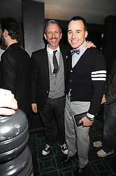 Left to right, PATRICK COX and DAVID FURNISH at a dinner to celebrate 30 years of Odette's restaurant, held at Odette's, 130 Regents Park Road, London NW1 on 24th November 2008.