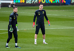 CARDIFF, WALES - Monday, March 29, 2021: Czech Republic's goalkeepers Tomáš Vaclík (L) and Filip Nguyen during a training session at the Cardiff City Stadium ahead of the FIFA World Cup Qatar 2022 Qualifying Group E game against Wales. (Pic by David Rawcliffe/Propaganda)