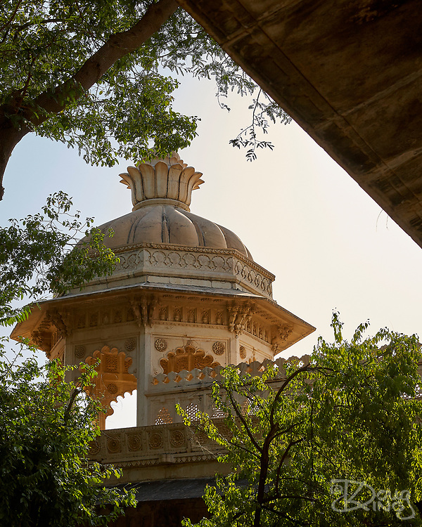 Architectural detail of the City Palace in Udaipur, Rajasthan, India <br /> <br /> Editorial & Non-Commercial use only