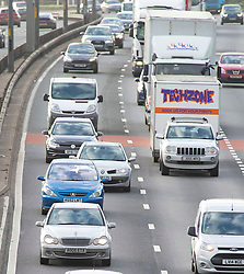 © Licensed to London News Pictures. 21/12/2018. Dartford, UK.Christmas getaway traffic starting to get busy on the A282 Dartford crossing approach in Kent. Photo credit: Grant Falvey/LNP