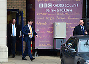 © Licensed to London News Pictures. 25/02/2013. Southhampton, UK Liberal Democrat leader and Deputy Prime Minister, Nick Clegg, leaves BBC radio Solent by a rear door, today 25th February 2013, after giving a radio interview about the Eastleigh By-Election. He faced questions that he failed to act on information about the inappropriate sexual behaviour of a senior Liberal Democrat official . Photo credit : Stephen Simpson/LNP
