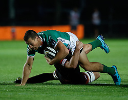 Benetton Treviso's Alberto Sgarbi is held<br /> <br /> Photographer Simon King/Replay Images<br /> <br /> Guinness PRO14 Round 1 - Dragons v Benetton Treviso - Saturday 1st September 2018 - Rodney Parade - Newport<br /> <br /> World Copyright © Replay Images . All rights reserved. info@replayimages.co.uk - http://replayimages.co.uk