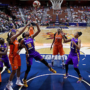 UNCASVILLE, CONNECTICUT- MAY 26: Nneka Ogwumike #30 of the Los Angeles Sparks rebounds while challenged by Morgan Tuck #33 of the Connecticut Sun during the Los Angeles Sparks Vs Connecticut Sun, WNBA regular season game at Mohegan Sun Arena on May 26, 2016 in Uncasville, Connecticut. (Photo by Tim Clayton/Corbis via Getty Images)