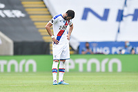 LEICESTER, ENGLAND - JULY 04: Luka Milivojevic of Crystal Palace) looks dejected after his side concede a thiord goal during the Premier League match between Leicester City and Crystal Palace at The King Power Stadium on July 4, 2020 in Leicester, United Kingdom. Football Stadiums around Europe remain empty due to the Coronavirus Pandemic as Government social distancing laws prohibit fans inside venues resulting in all fixtures being played behind closed doors. (Photo by MB Media)