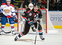 KELOWNA, CANADA, NOVEMBER 11: Mitch Chapman #5 of the Kelowna Rockets skates in front of the Rockets'  net as the Edmonton OIl Kings visit the Kelowna Rockets  on November 11, 2011 at Prospera Place in Kelowna, British Columbia, Canada (Photo by Marissa Baecker/Shoot the Breeze) *** Local Caption *** Mitch Chapman;