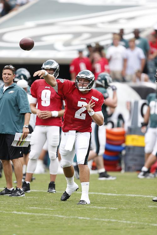 Philadelphia Eagles quarterback Matt Barkley #2 throws the ball during the NFL football training camp in Philadelphia, Sunday, July 28, 2013. (Photo by Brian Garfinkel)