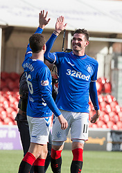 Rangers Kyle Lafferty celebrates with Andy Halliday during the Scottish Premiership match at the Superseal Stadium, Hamilton.