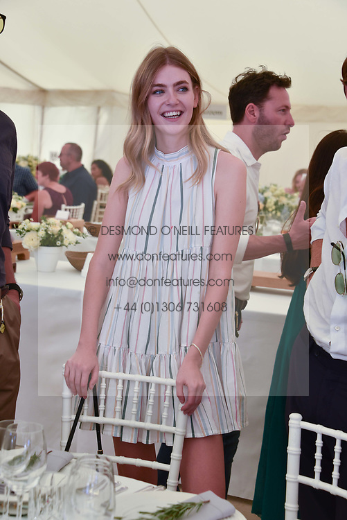 Eve Delf at the 'Cartier Style et Luxe' enclosure during the Goodwood Festival of Speed, Goodwood House, West Sussex, England. 15 July 2018.