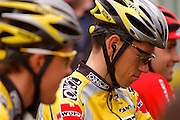 Once riders wait for the start of the 2004 edition Liege Bastogne Liege cycle race.
