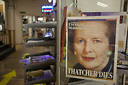 London, UK. Saturday 13th April 2013. Cover of the Evening Standard newspaper on display in a market in London. The cover had announced the death of Margaret Thatcher.
