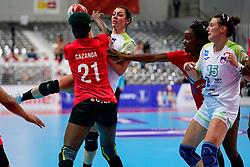 03-12-2019 JAP: Slovenia - Angola, Kumamoto<br /> Third match 24th IHF Women's Handball World Championship, Slovenia loss the third match against Angola with 24 - 33. / Nina Zulic #18 of Slovenia, Teja Ferfolja #15 of Slovenia