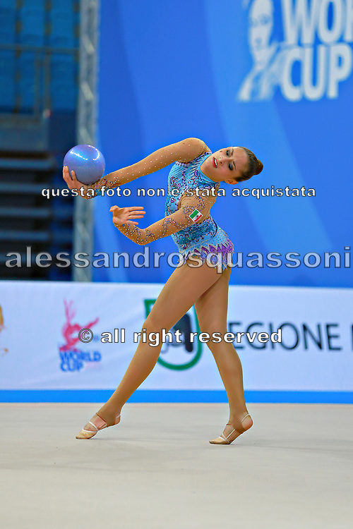 Diaz Karla during qualifying at ball in Pesaro World Cup 10 April 2015.<br /> Karla born 5 July, 1995 in Mexico City is a Mexican individual rhythmic gymnast