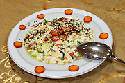 Risotto with vegetables and herbs, olive oil, spices. Efendi Efendy traditional Turkish and Ottoman Restaurant, The Block, Tirana. Albania, Balkan, Europe.