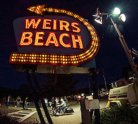 Heading into Weirs Beach Friday evening of Bike Week.  (Karen Bobotas/for the Laconia Daily Sun)