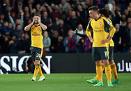 Arsenal's Shkodran Mustafi looks on dejected after going 1-0 down during the Premier League match at Selhurst Park Stadium, London. Picture date: April 10th, 2017. Pic credit should read: David Klein/Sportimage