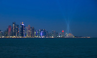 DOHA, QATAR - CIRCA DECEMBER 2013: View of the Doha skyline at night