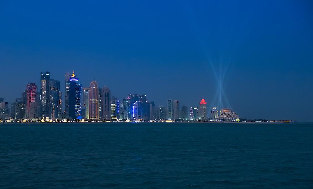 DOHA, QATAR - CIRCA DECEMBER 2013: View of the Doha skyline at night