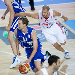 04.09.2013, Arena Bonifka, Koper, SLO, Eurobasket EM 2013, Tuerkei vs Finnland, im Bild Petteri Koponen #11 of Finland and Sinan Guler #6 of Turkey // during Eurobasket EM 2013 match between Turkey and Finland at Arena Bonifka in Koper, Slowenia on 2013/09/04. EXPA Pictures © 2013, PhotoCredit: EXPA/ Sportida/ Matic Klansek Velej<br /> <br /> ***** ATTENTION - OUT OF SLO *****