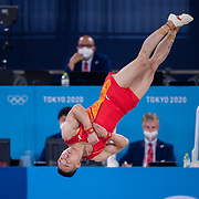 TOKYO, JAPAN - JULY 28: Ruoteng Xiao of China performing his floor routine during during his silver medal performance in the Men's All Round competition at Ariake Gymnastics Centre at the Tokyo 2020 Summer Olympic Games on July 28, 2021 in Tokyo, Japan. (Photo by Tim Clayton/Corbis via Getty Images)