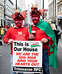 Wales fans enjoying the pre match atmosphere<br /> <br /> Photographer Simon King/Replay Images<br /> <br /> Six Nations Round 3 - Wales v England - Saturday 23rd February 2019 - Principality Stadium - Cardiff<br /> <br /> World Copyright © Replay Images . All rights reserved. info@replayimages.co.uk - http://replayimages.co.uk