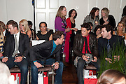 BAND MEMBERS OF BLAKE; HUMPHREY BERNEY; JULES KNIGHT; STEPHEN BOWMAN; OLLIE BAINES; , Stephane St. Jaymes Spring Summer 2011 fashion show.<br /> The Westbury Mayfair, Bond Street, London,DO NOT ARCHIVE-© Copyright Photograph by Dafydd Jones. 248 Clapham Rd. London SW9 0PZ. Tel 0207 820 0771. www.dafjones.com.