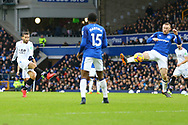 Yohan Cabaye of Crystal Palace (l) shoots for goal but sees his effort saved as Wayne Rooney of Everton attempts to block. Premier league match, Everton v Crystal Palace at Goodison Park in Liverpool, Merseyside on Saturday 10th February 2018. pic by Chris Stading, Andrew Orchard sports photography.