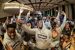 Members of the LSU Tigers celebrate following the Battle for Bowl Week Basketball Challenge on Wednesday, Dec. 25, in Atlanta. LSU will face Oklahoma in the 2019 College Football Playoff Semifinal at the Chick-fil-A Peach Bowl. (Paul Abell via Abell Images for the Chick-fil-A Peach Bowl)