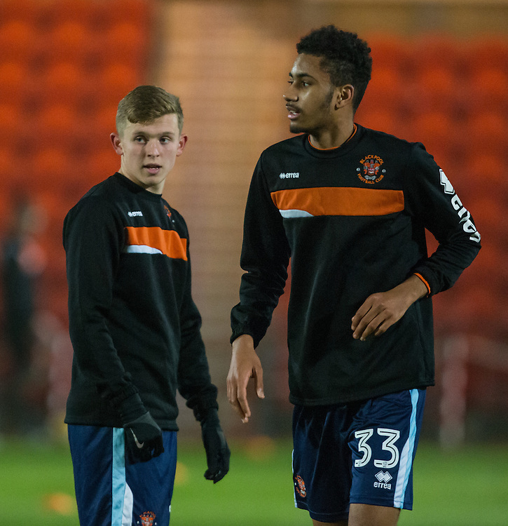 Blackpool's Rowan Roache and Christian N'Guessan warm up before the match<br /> <br /> Photographer Alex Dodd/CameraSport<br /> <br /> Checkatrade Trophy Round 2 - Northern Section - Doncaster Rovers v Blackpool - Tuesday 6th December 2016 - Keepmoat Stadium - Doncaster<br />  <br /> World Copyright © 2016 CameraSport. All rights reserved. 43 Linden Ave. Countesthorpe. Leicester. England. LE8 5PG - Tel: +44 (0) 116 277 4147 - admin@camerasport.com - www.camerasport.com
