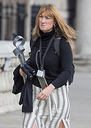 © Licensed to London News Pictures. 01/09/2021. London, UK. Former Downing Street Press Secretary ALLEGRA STRATTON is seen carrying crutches as she arrives at the Cabinet Office on Whitehall. Photo credit: Ben Cawthra/LNP