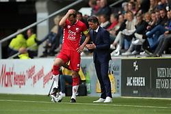 (L-R) Willem Janssen of FC Utrecht, coach Jean-Paul de Jong of FC Utrecht during the Dutch Eredivisie match between Heracles Almelo and FC Utrecht at Polman stadium on April 29, 2018 in Almelo, The Netherlands