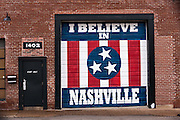 I Believe in Nashville wall mural on the Marathon Music Works in Nashville, TN.