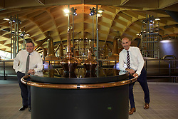 EMBARGOED: 00.01 TUE 22052018. Scott McCroskie (left), managing director of The Macallan, and Ian Curle, chief executive of Edrington Group, owner of The Macallan, in the new distillery on the Easter Elchies Estate, Speyside. Pic copyright Terry Murden @edinburghelitemedia EMBARGOED: 00.01 TUE 22052018