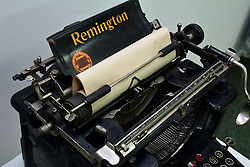 11.03.2016, Slavonski Brod, CRO, Die Remington No. 12, im Bild Die Remington No. 12, die im Jahr 1922 erschien, verkörpert jede Remington. Vierzehn Lärm reduzierende Eigenschaften wurden eingeführt. Die Nummer 12 hat eine verbesserte Hemmung, Typ Stegkonstruktion, Farbbandmechanismus und Verfeinerungen der Konstruktion über die gesamten Maschinen. // The Remington No. 12, which appeared on the market in 1922, embodies every Remington advantage, plus quiet action. Fourteen noise reducing features were introduced. The No. 12 has an improved escapement, type bar construction, ribbon mechanism and refinements of construction throughout the entire machines. It also has the frame enclosed to keep out dust and dirt Slavonski Brod, Croatia on 2016/03/11. EXPA Pictures © 2016, PhotoCredit: EXPA/ Pixsell/ Ivica Galovic<br /> <br /> *****ATTENTION - for AUT, SLO, SUI, SWE, ITA, FRA only*****