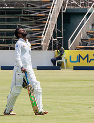 Sri Lanka batsman Upul Tharanga exhausted in action during the second day of the 100th test match for Zimbabwe played in a match with Sri Lanka at Harare Sports Club 30 October 2016.