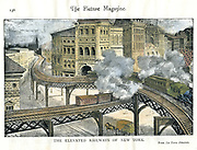 Elevated Railway, New York - The El. Engraving published New York c1890