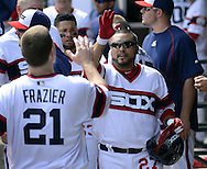 CHICAGO - APRIL 24:  Dioner Navarro #27 celebrates with Todd Frazier #21 of the Chicago White Sox during the game against the Texas Rangers on April 24, 2016 at U.S. Cellular Field in Chicago, Illinois.  The White Sox defeated the Rangers 4-1.  (Photo by Ron Vesely)   Subject: Dioner Navarro; Todd Frazier