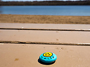 19 APRIL 2020 - DES MOINES, IOWA: A painted rock left on a picnic table at Gray's Lake, a popular public park and lake south of downtown Des Moines. After a week of colder than normal weather, including three inches of snow, the weekend was spring like and people went to public parks to enjoy the pleasant weather. PHOTO BY JACK KURTZ