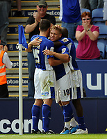Leicester City/Swansea City Coca Cola Championship 08.08.09 <br /> Photo: Tim Parker Fotosports International<br /> Martyn Waghorn Leicester City celebrates 1st goal with team mates