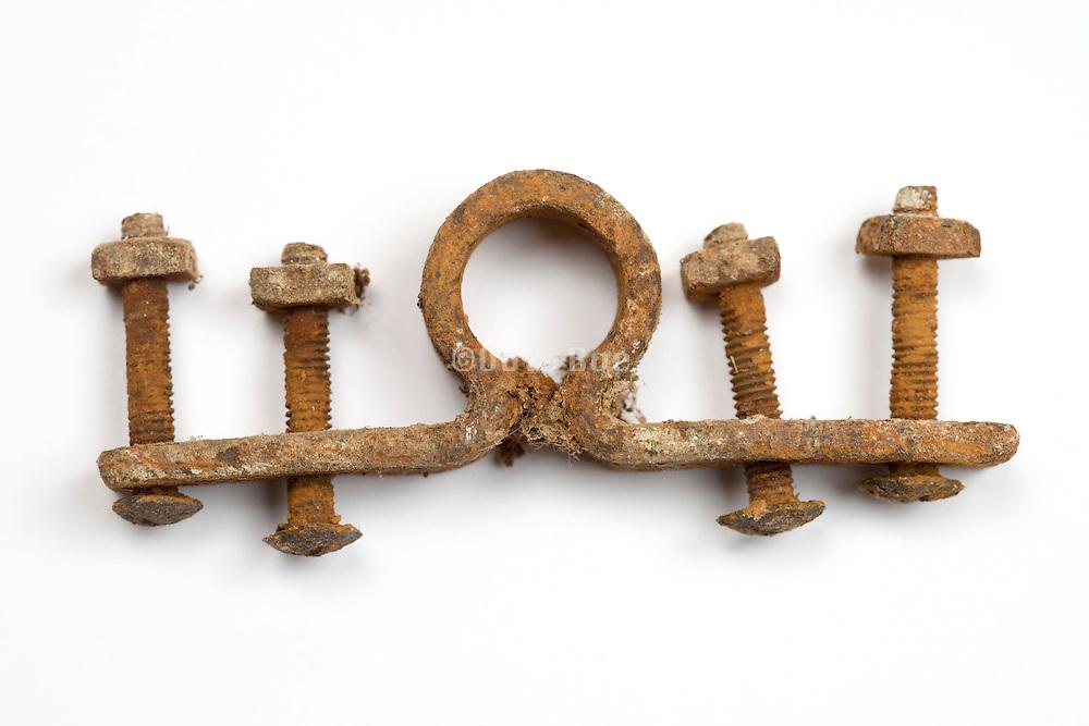 rusted metal door lock fastener hinge