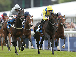 Young Rascal ridden by James Doyle (right) wins the Centennial Celebration - MBNA Chester Vase Stakes during City Day of the 2018 Boodles May Festival at Chester Racecourse.