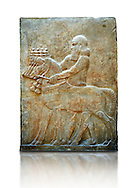 Stone relief sculptured panel of Horse Driver. Facade L. Inv AO 19883 from Dur Sharrukin the palace of Assyrian king Sargon II at Khorsabad, 713-706 BC.  Louvre Museum Room 4 , Paris .<br /> <br /> If you prefer to buy from our ALAMY PHOTO LIBRARY  Collection visit : https://www.alamy.com/portfolio/paul-williams-funkystock/ancient-assyria-antiquities.html  Refine search by adding background colour, place, subject, museum etc into the LOWER SEARCH WITHIN GALLERY box to <br /> <br /> Visit our ANCIENT ASSYRIAN PHOTO COLLECTIONS for more photos to download or buy as wall art prints https://funkystock.photoshelter.com/gallery-collection/Ancient-Assyrian-Art-Artefacts-Antiquities-Historic-Sites-Pictures-Images-of/C0000cjRqQyJjLag