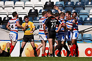 Rochdale Hornets prop Matty Hadden (16) celebrates Rochdale Hornets final try of the game during the Kingstone Press Championship match between Rochdale Hornets and Bradford Bulls at Spotland, Rochdale, England on 18 June 2017. Photo by Simon Davies.
