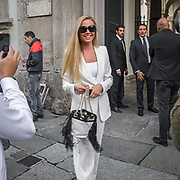 La giornata d'apertura della Settimana della Moda a Milano edizione 2013. Federica Panicucci conduttrice televisa<br /> <br /> Open Day of Milan Fashion Week 2013 edition Federica Panicucci radio and television personality