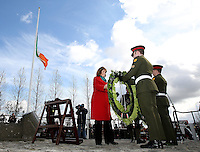 Easter Monday Ashbourne. Tanaiste Joan Burton lays a wreath at the monument in Ashbourne for those killed in the rising.  Picture; GERRY  MOONEY.  28/3/16